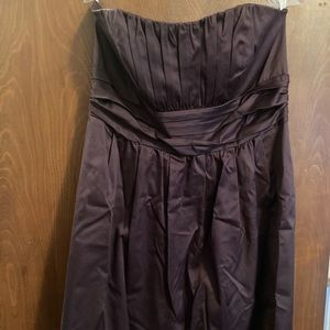 Strapless, brown bridesmaids/prom dress.